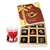 Valentine Chocholik Belgium Chocolates - Tempting Surprises Of Dark Chocolate Box With Love Mug