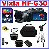 Canon VIXIA HF G30 HD Camcorder with HD CMOS Pro - 10-piece Bundle Kit: 64GB SDXC Memory Card + Spare battery + Telephoto and Wide Angle Lenses + Camera Bag and more ...