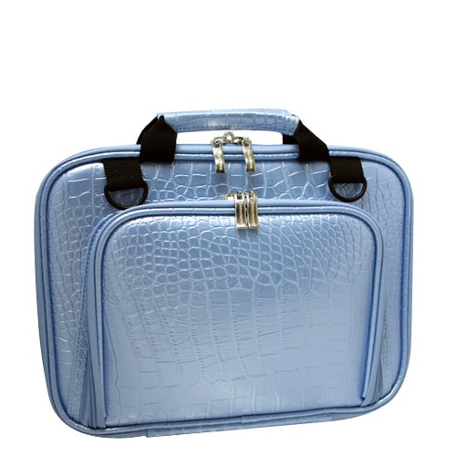 ASUS EEE PC 1000HE CaseCrown Double Memory Foam Netbook Case with Shoulder Strap (Baby Blue Faux Alligator Skin)