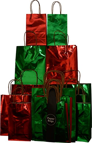 Christmas Gift Bags, Red & Green hot stamp, small medium and large, set of 20 holiday bags