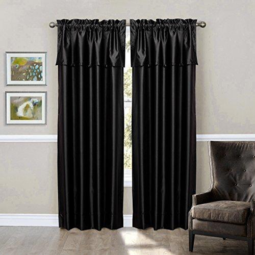 Lightinthebox (Two Panels Rod Pocket) Blackout Window Treatment Set In Black Window Treatment Drape Curtains front-1002380