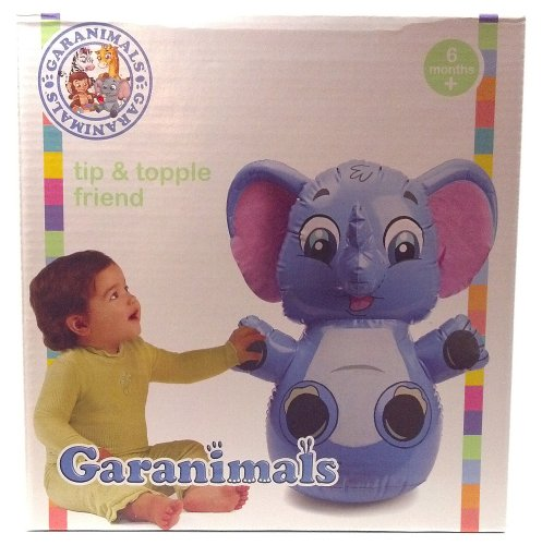 Geranimals Tip and Topple Friend Inflatable Elephant with Weighted Base Helps Baby Develop Motor Skills Free Standing and Portable (1 Each)
