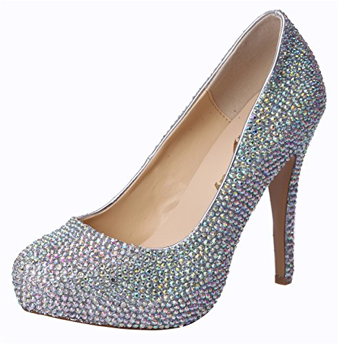 Honeystore Women'S Bridal Rhinestone High Heel Leather Pump Multicolored 9 B(M) Us front-347459