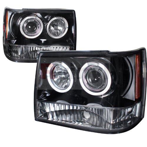Jeep Gran Cherokee 1993 1994 1995 1996 1997 1998 Led Halo Projector Headlights - Black