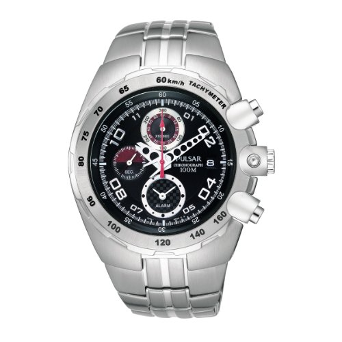 Pulsar Chronograph Black Dial Steel Bracelet Gents Watch PF3501