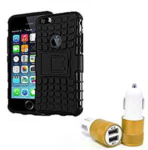 Droit Shock Proof Protective Bumper back case with Flip Kick Stand for Iphone 6G + Car Charger With 2 Fast Charging USB Ports by Droit Store.