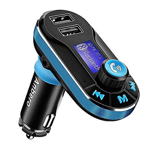 Anbero-FM-Transmitter-Freisprecheinrichtung-Bluetooth-Auto-MP3-Player-mit-USB-Autoladegert-35-mm-Audio-Jack-Micro-SD-Kartensteckplatz-Lesen-USB-Flash-Laufwerk