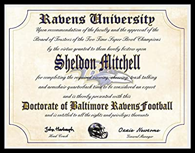 "Baltimore Ravens Ultimate Fan Personalized Diploma - Perfect Gift - 8.5"" x 11"" Parchment Paper"