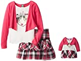 Dollie & Me Big Girls Top with Open Cardigan and Skirt
