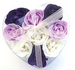 purple Rose Bath Bomb, Nine Colorful Rose Flower with Heart Gift Box. Dirk Purple+white+purple