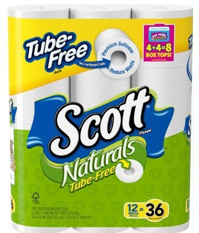 Toilet Paper, Mega Roll 12 Rolls Equals 24 Rolls White - Soft - Strong Natural Comfortable Wipe - 400 One-Ply Sheets Per Roll