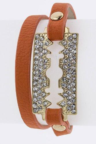Trendy Fashion Jewelry Crystal Razor Double Wrap Bracelet By Fashion Destination   (Orange)