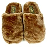 Fuzzy Xtra Soft Plush Cushion Indoor Outdoor Non Slip Sole Slippers Brown L 9-10