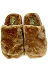 Fuzzy Xtra Soft Plush Cushion Indoor Outdoor Non Slip Sole Slippers Brown S 5-6