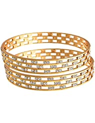 JFL - Fusion Ethnic One Gram Gold Plated Bangle Set Kada With Austrian Diamonds For Women And Girls