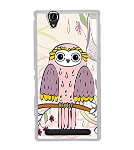 Owl on a Tree Branch 2D Hard Polycarbonate Designer Back Case Cover for Sony Xperia T2 Ultra :: Sony Xperia T2 Ultra Dual SIM D5322 :: Sony Xperia T2 Ultra XM50h