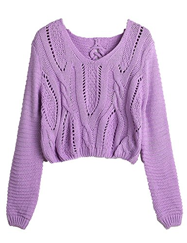 PrettyGuide Women Eyelet Cable Knit Lace Up Crop Long Sleeve Sweater Crop Tops (Purple)