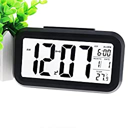 YOHAPP Digital Alarm Clock Large LCD Display with Smart Controllable Backlight Snooze (Black)