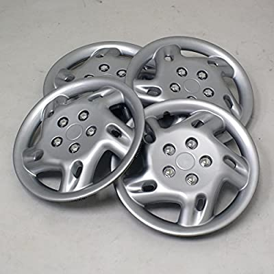 TuningPros WSC2-027S15 Hubcaps Wheel Skin Cover Type 2 15-Inches Silver Set of 4