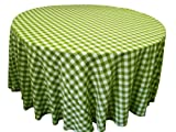 LA Linen Poly Checkered Round Tablecloth, 132-Inch, Apple Green/White