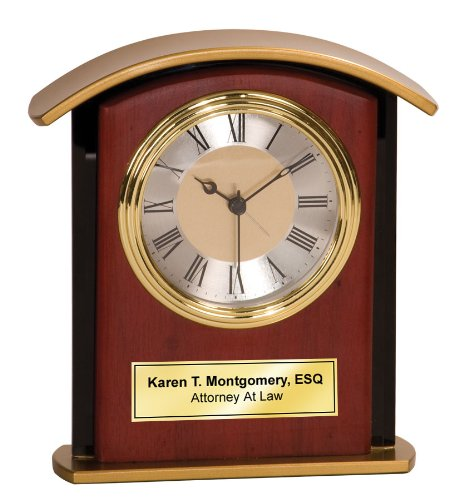 Personalized Golden Archway Wood Mahogany Desk Table Clock with Black Glass Border and Gold Engraving Plate. Desk Clock Personalized Gift