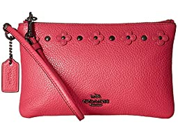 COACH Women\'s Box Program Floral Rivets Detaill Small Wristlet DK/Dahlia Clutch