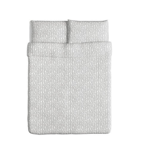 Ikea Krakris Duvet Cover and Pillowcases, Full/queen, Gray/white (Ikea Sheets Queen compare prices)