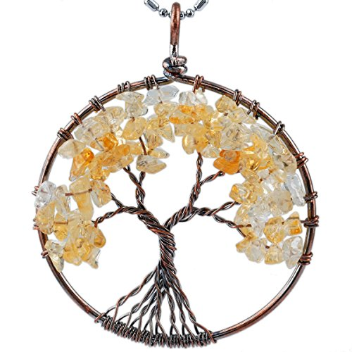 SUNYIK Citrine Tree of Life Pendant Tumbled Crystal Stone Wire Wrapped Jewelry