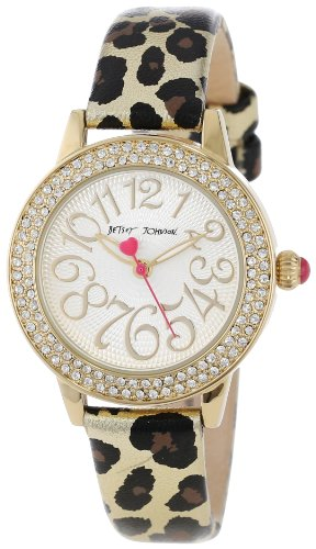Betsey Johnson Women's BJ00251-01  Analog Metallic Leopard Printed Strap Watch