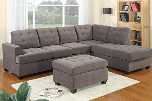 New! 3Pc Grey Modern Sectional Sofa Set W/ Ottoman - Furniture Sofa Sectional