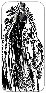 Snoogg Sketch Of A Big Male African Lion Vector Illustration Designer Protective Back Case Cover For HTC M8