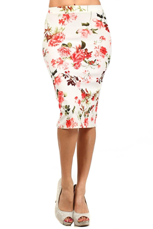 (Plus Size) Floral Print High Waisted Knee Length Pencil Skirt (MADE IN U.S.A) knee length zipper pencil skirt