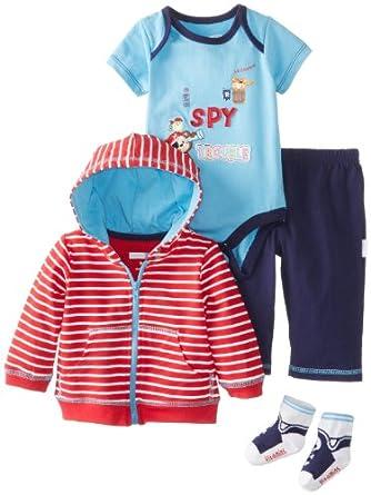 Vitamins Baby Baby-Boys Newborn I Spy Stripe 4 Pack Jacket Pant Set, Red, 3 Months