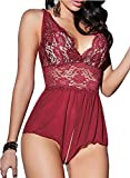 ALLureLove Sexy Lingerie Open Crotch Leotard Teddy Nightwear Lace Miniskirt Babydoll (Large, Red)