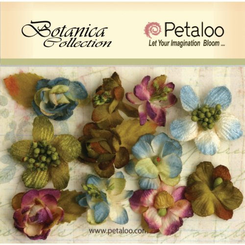 Petaloo Botanica Minis Decorative Flower, 1-Inch, Multicolor, 11-Pack - 1