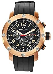 TW Steel Unisex Quartz Watch with Black Dial Chronograph Display and Black Rubber Strap TW130