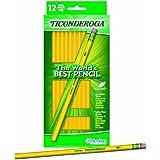 Dixon Ticonderoga Wood-Cased #2 HB Pencils, Hang Tab Box of 12, Yellow (13812)