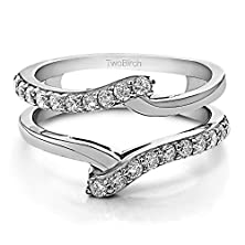 buy 10K White Gold Bypass Ring Guard Enhancer With Cz (0.5 Ct. Twt.)
