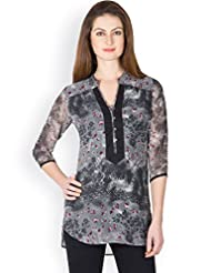 Ayaany Women BLACK Polyester Printed Kurti