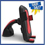 Car Mount Mobile Phone Holder - Best Fit For Cell phones, Universal One Touch Cradle, with 360 Degree Rotation. Compatible with All Smartphones, Garmin, iPhone 5 6, GPS and Android - Red