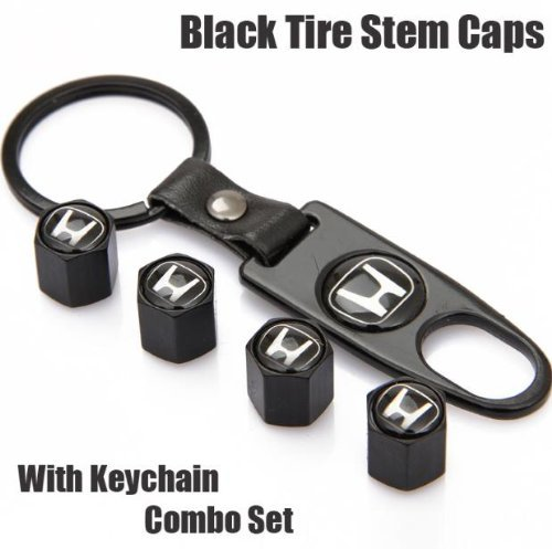 free-shippinghigh-quality-steel-car-air-tire-valve-caps-and-black-keychain-combo-set-for-honda