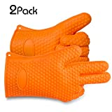 Toplus Silicone BBQ Grilling Cooking Gloves Heat Resistant Oven Mitts Great for Grilling, BBQs, Baking, Smoke Ovens, Insulated & Waterproof, Set of 2