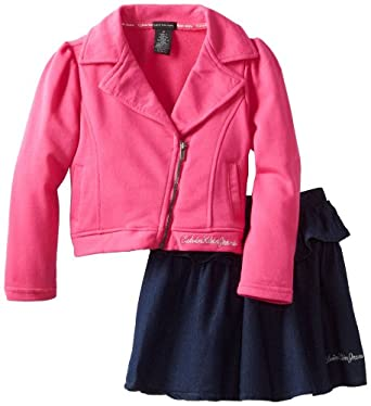 Calvin Klein Little Girls' Jacket with Denim Skirt 4-6X, Pink, 4