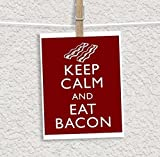 Keep Calm and Eat Bacon Note Cards with Envelopes - Thank You Cards - Blank Cards