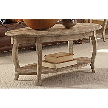 Alaterre Rustic Reclaimed Oval Coffee Table, Driftwood Brown