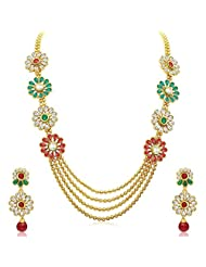 The Jewebox Flower Red Green Pearl Long Haraam 4 Chain Gold Plated Necklace Earring Set For Women