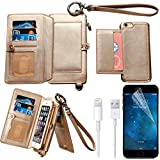 iPhone 6s Plus Wallet Case, iPhone 6 Plus Case,Bonice Premium Leather Zipper Wallet Multifunctional Detachable Removable Purse Card Slot Pocket Wallet Pouch Protective Cover for iPhone 6/6s Plus, Gold