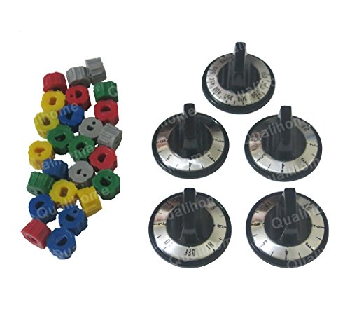 5 Pcs Electric Traverse Knob Set Replacement Black with Silver Overlay By Aqua Plumb #RKE