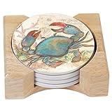 CounterArt Seaside Garden/Blue Crab Design Absorbent Coasters In Wooden Holder, Set Of 4