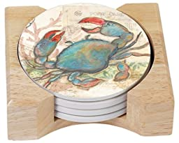 CounterArt Seaside Garden/Blue Crab Design Absorbent Coasters in Wooden Holder, Set of 4